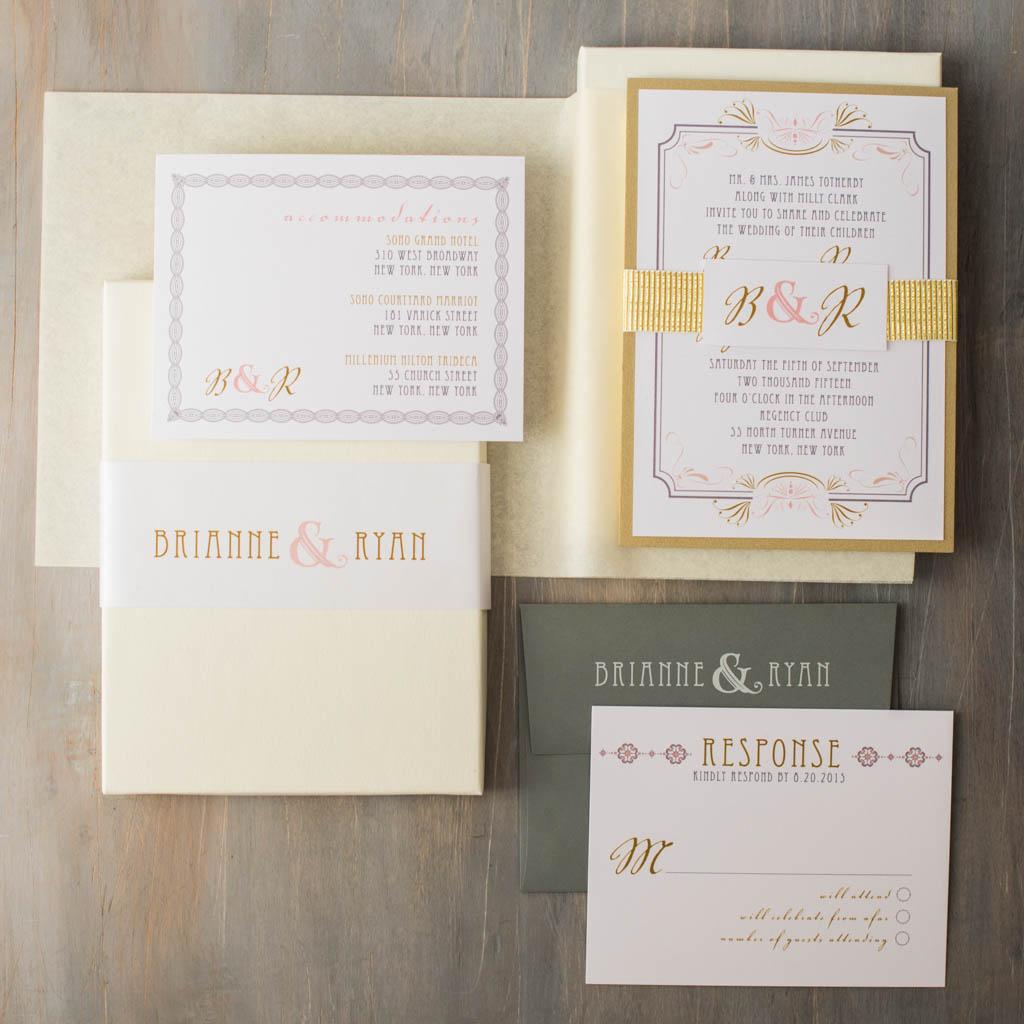 Art Deco Wedding Invitation: Art Deco Love Customizable Gold & Blush Boxed Wedding