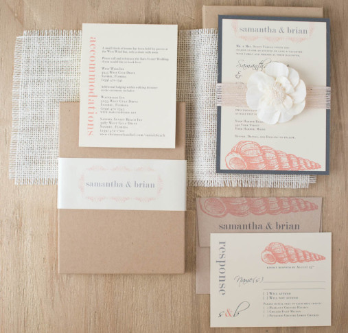 beach romance customizable boxed destination wedding With boxed destination wedding invitations