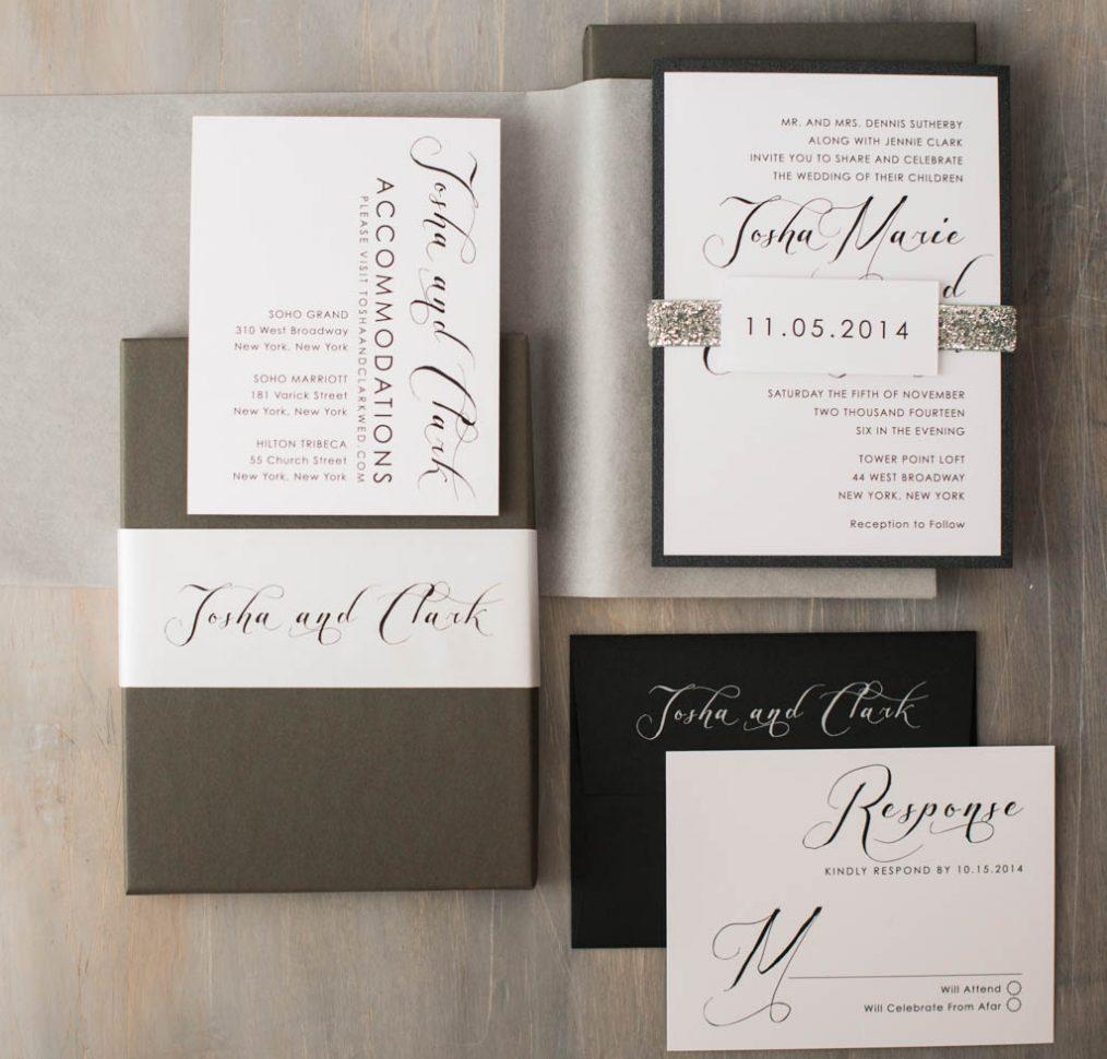 Black Script Boxed Wedding Invitations