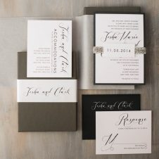 Black Script Boxed Wedding Invitations