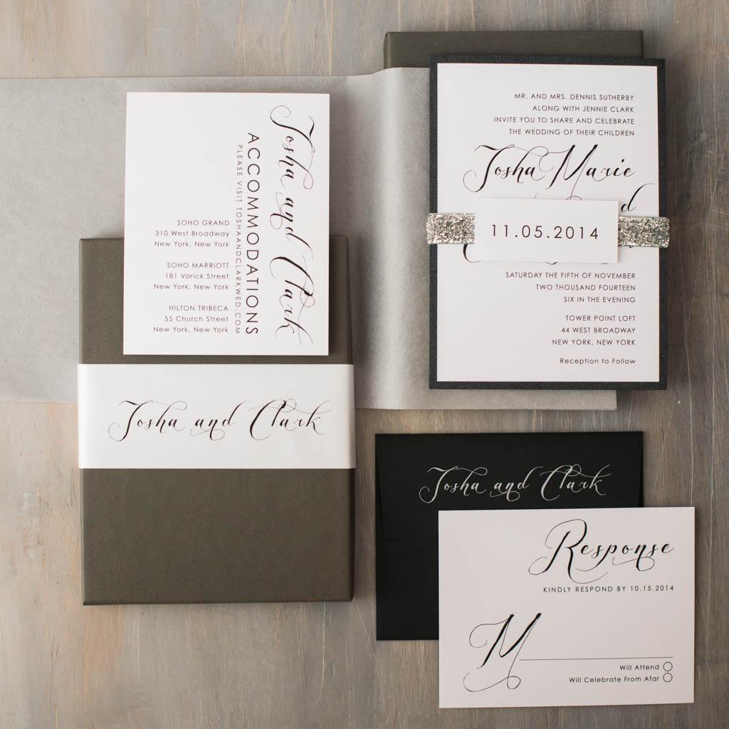 Black Script Customizable Modern Boxed Wedding Invitations