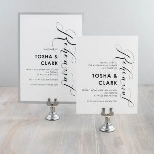 Black Script Rehearsal Invitations