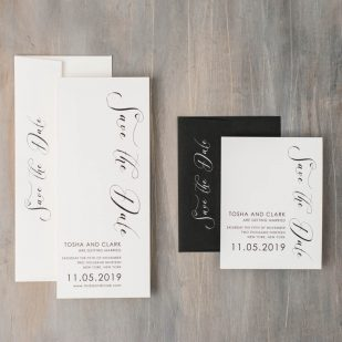 Black Script Save the Dates