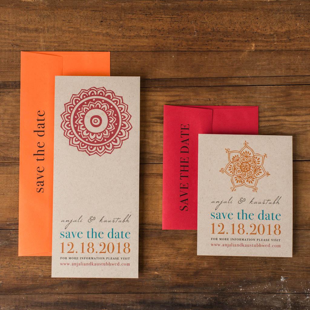 Henna Love Customizable Orange & Blue Save The Dates | Beacon Lane