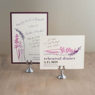 Lavender in Love Rehearsal Invitations