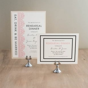 Modern Lace Rehearsal Invitations