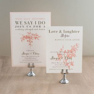 Peach Love Birds Rehearsal Invitations