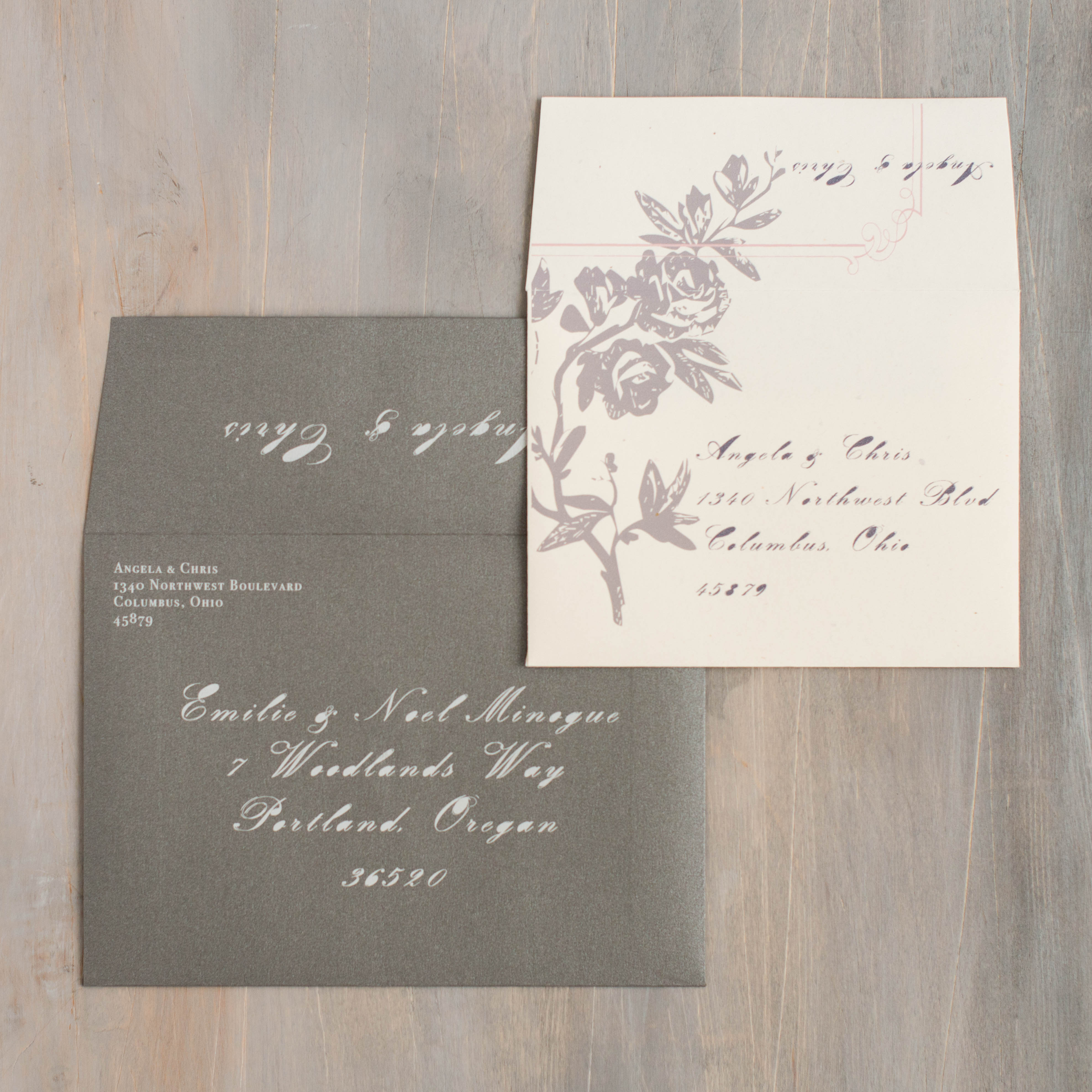 Pink & Gray Loves Lace Customizable Wedding Invitations | Beacon Lane