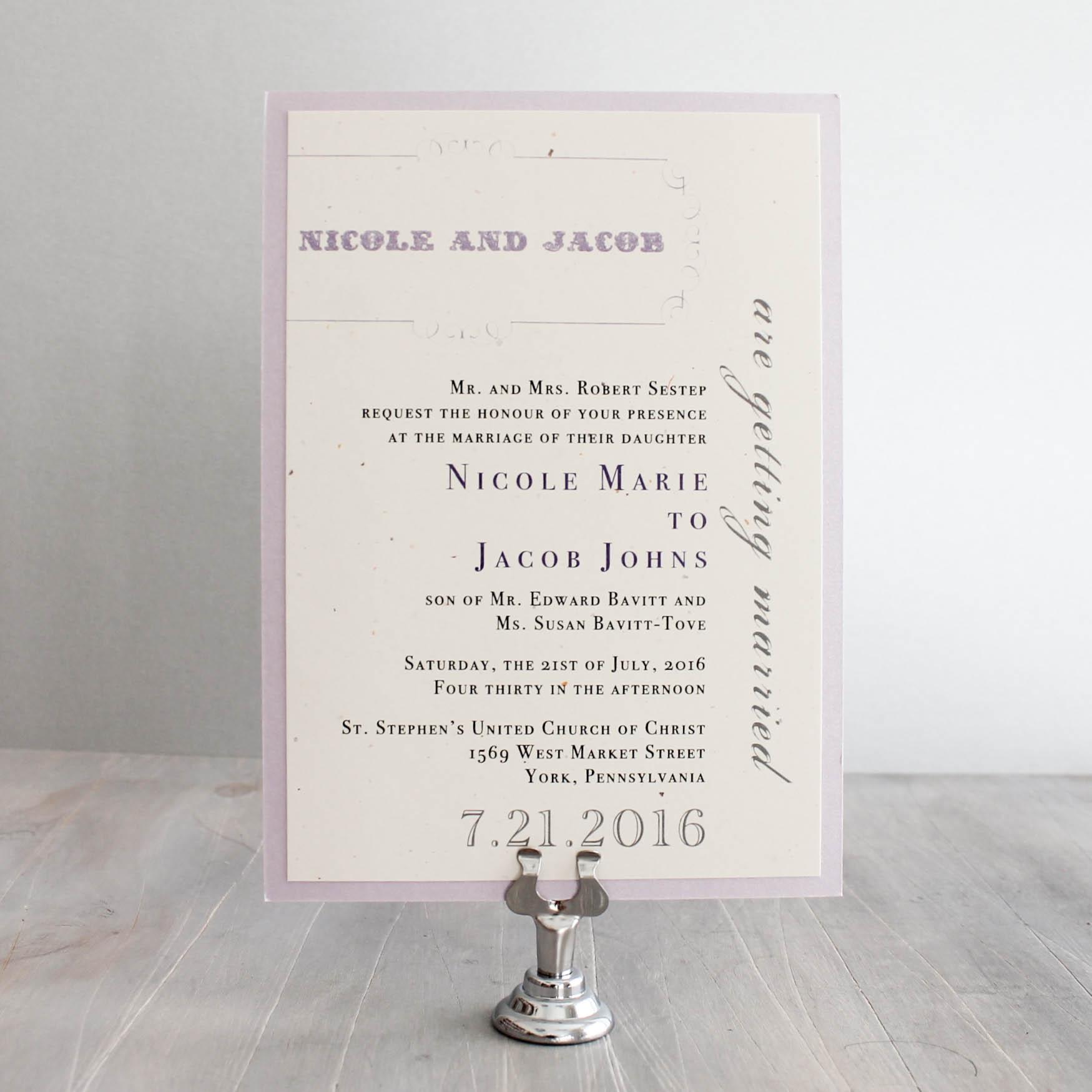 Purple Charmer Customizable Vintage Lace Wedding Invitations ...