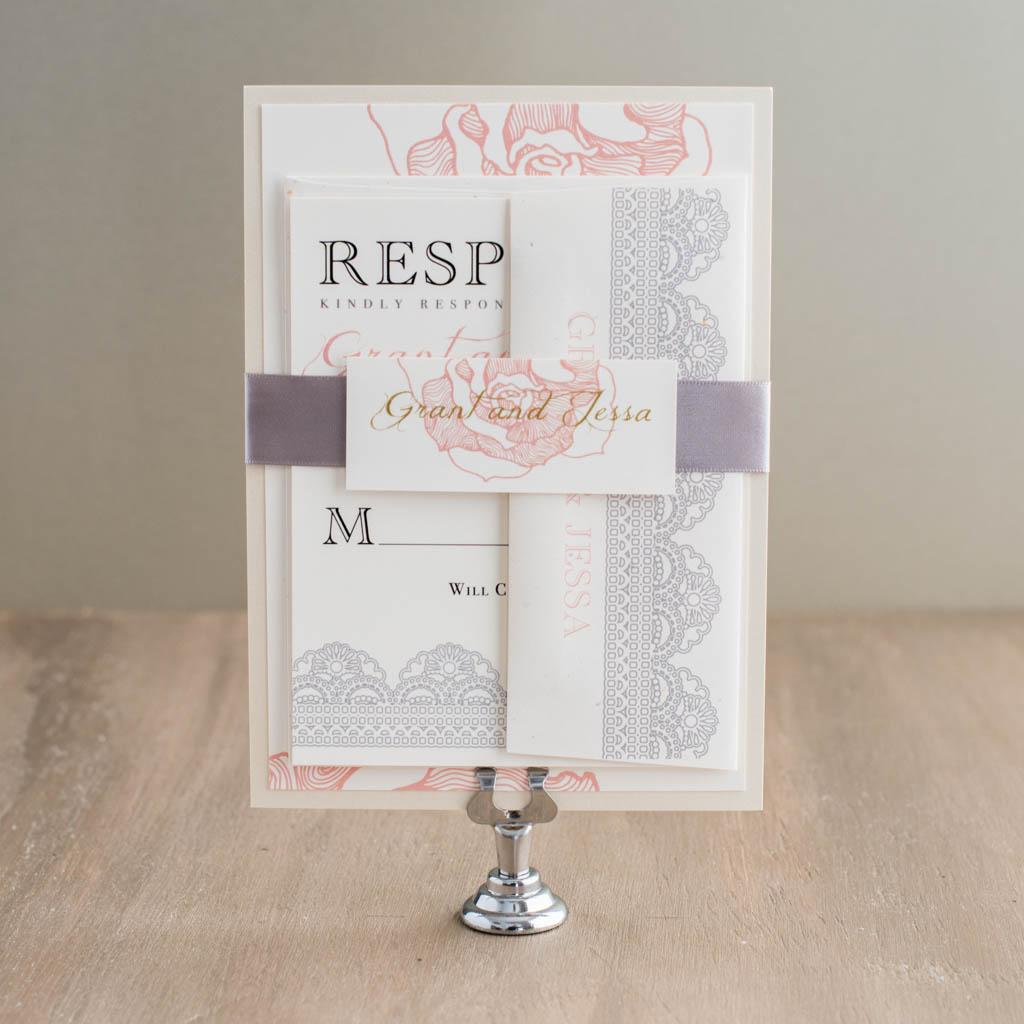 B Wedding Invitations Coupons: Ruffled Romance Customizable Lace Blush Wedding