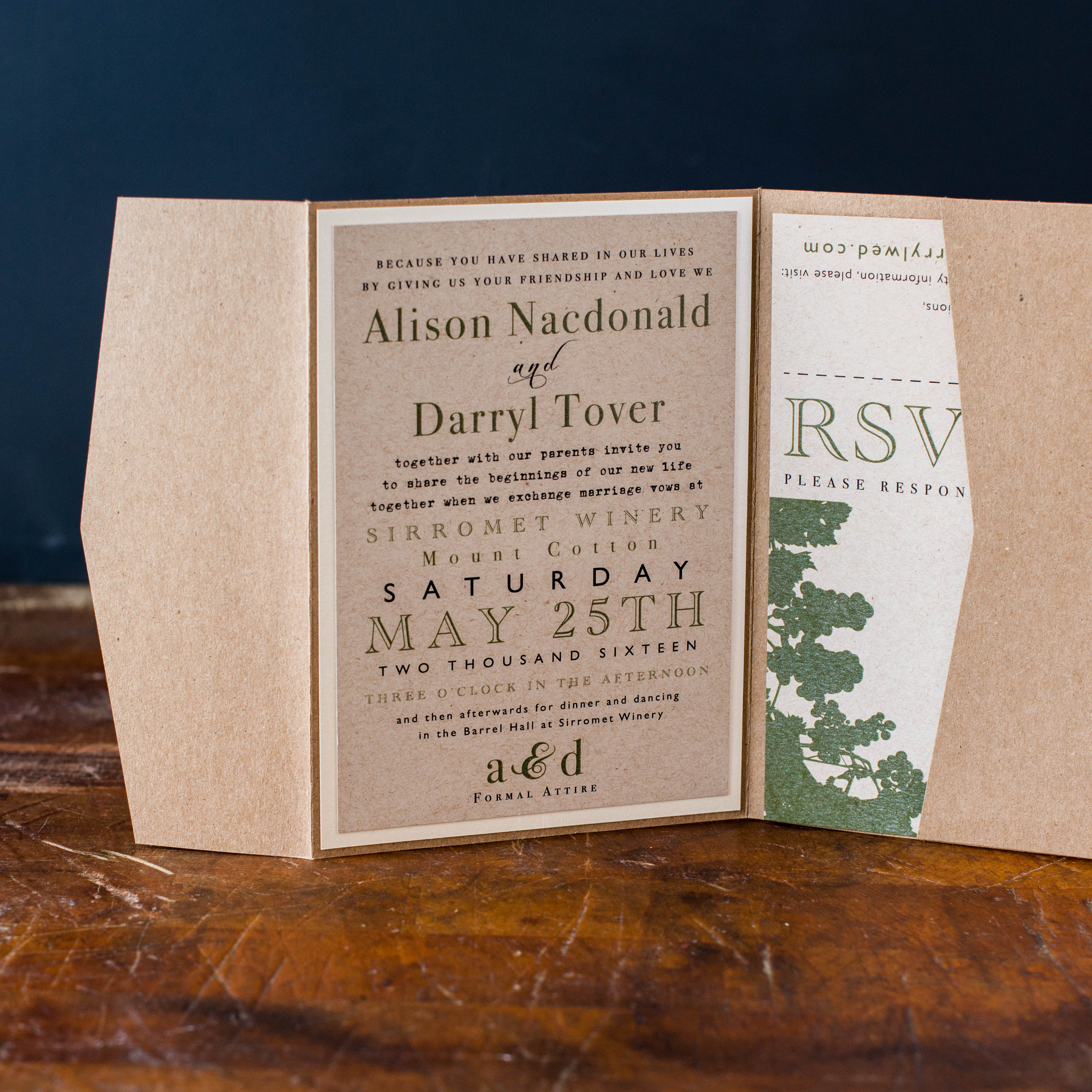 Rustic Chic Winery Customizable Brown Amp Green Wedding Invitations