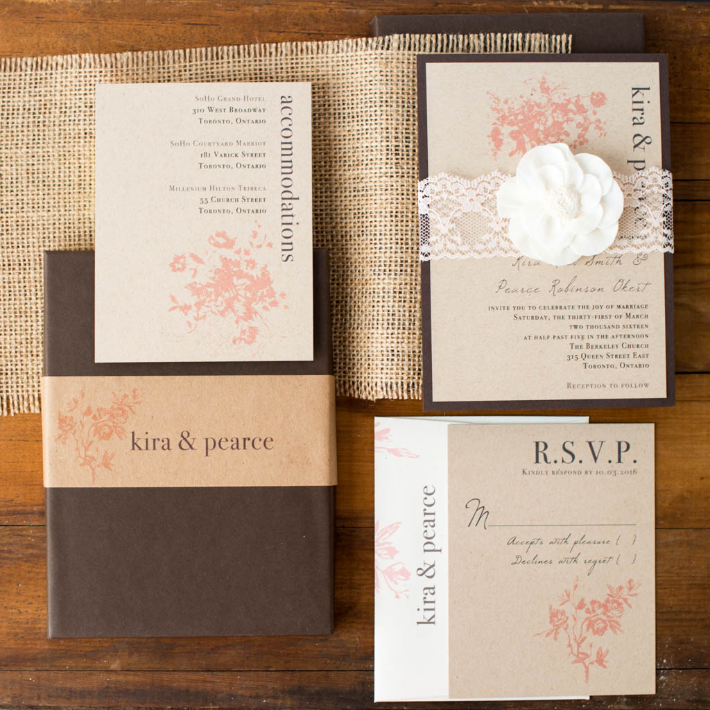Rustic Elegance Customizable Modern Boxed Wedding Invitations ...