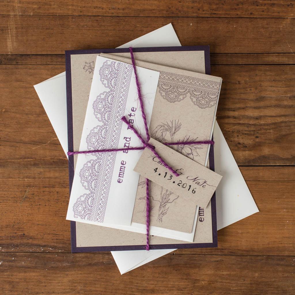 Rustic Lace Customizable Plum & Brown Wedding Invitations | Beacon Lane