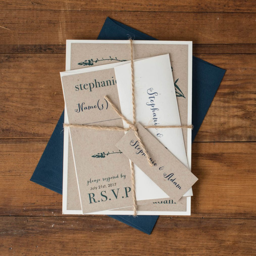 Rustic Navy Bundled Wedding Invitations