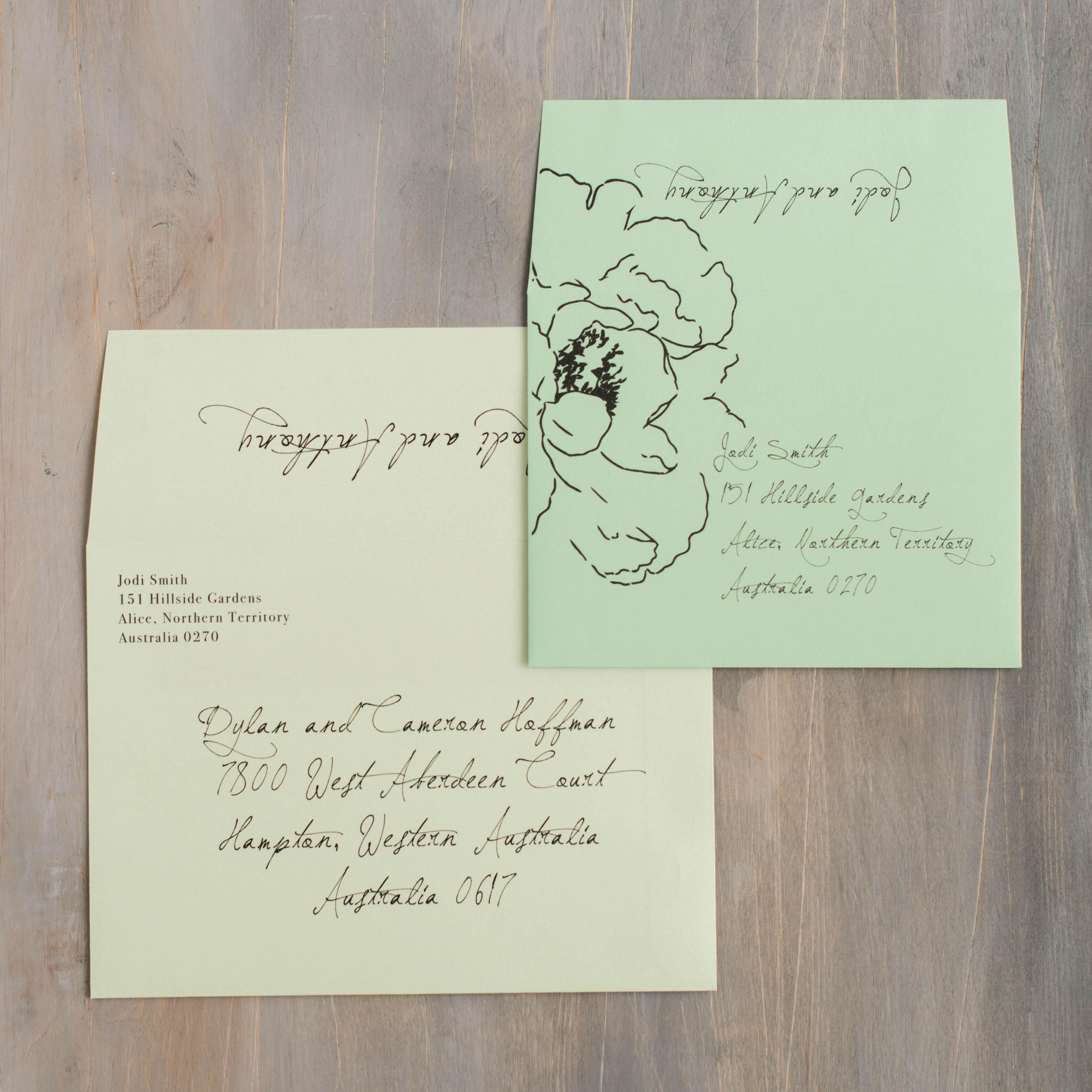 Simple Green Customizable Lace Wedding Invitations