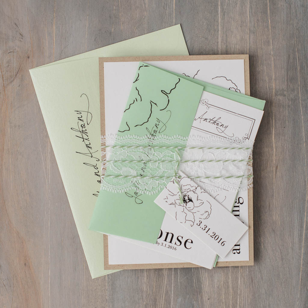 Simple Green Customizable Lace Wedding Invitations