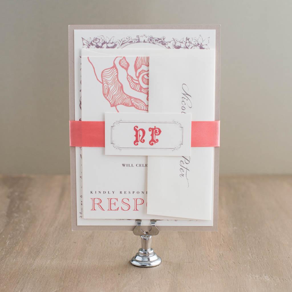 Vintage Coral Customizable Blush Wedding Invitations | Beacon Lane