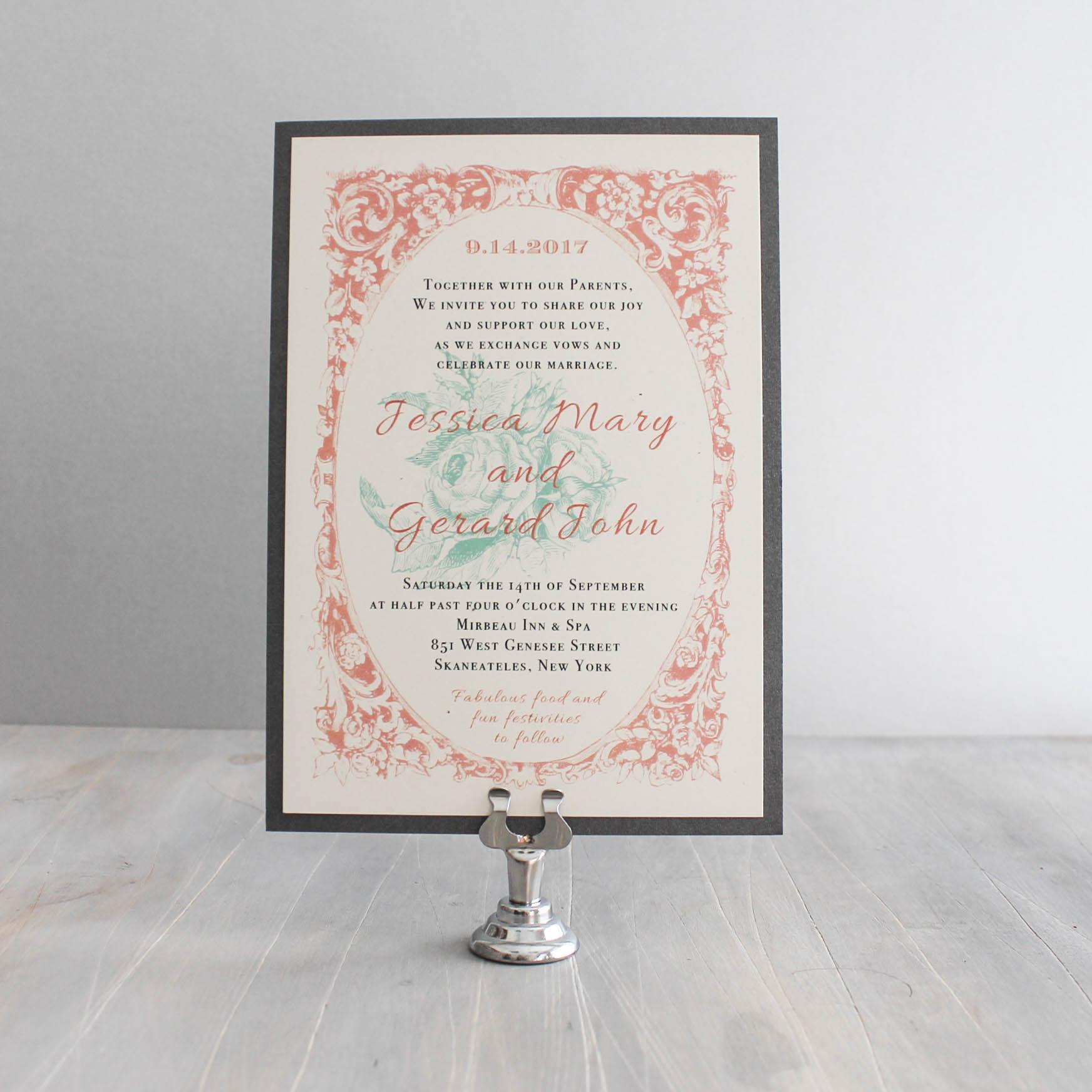 Vintage Lace Customizable Blush & Green Wedding Invitations | Beacon ...