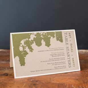 Rustic Chic Winery Tented Menu Cards