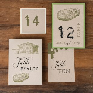Rustic Chic Winery Flat Table Numbers