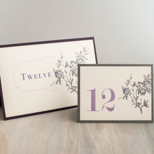 Purple Charmer Tented Table Numbers