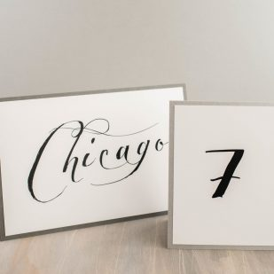 Black Script Tented Table Numbers