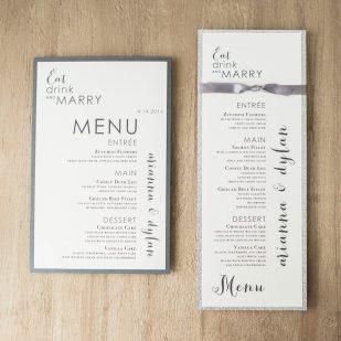 Silver & Glitter Flat Menu Cards