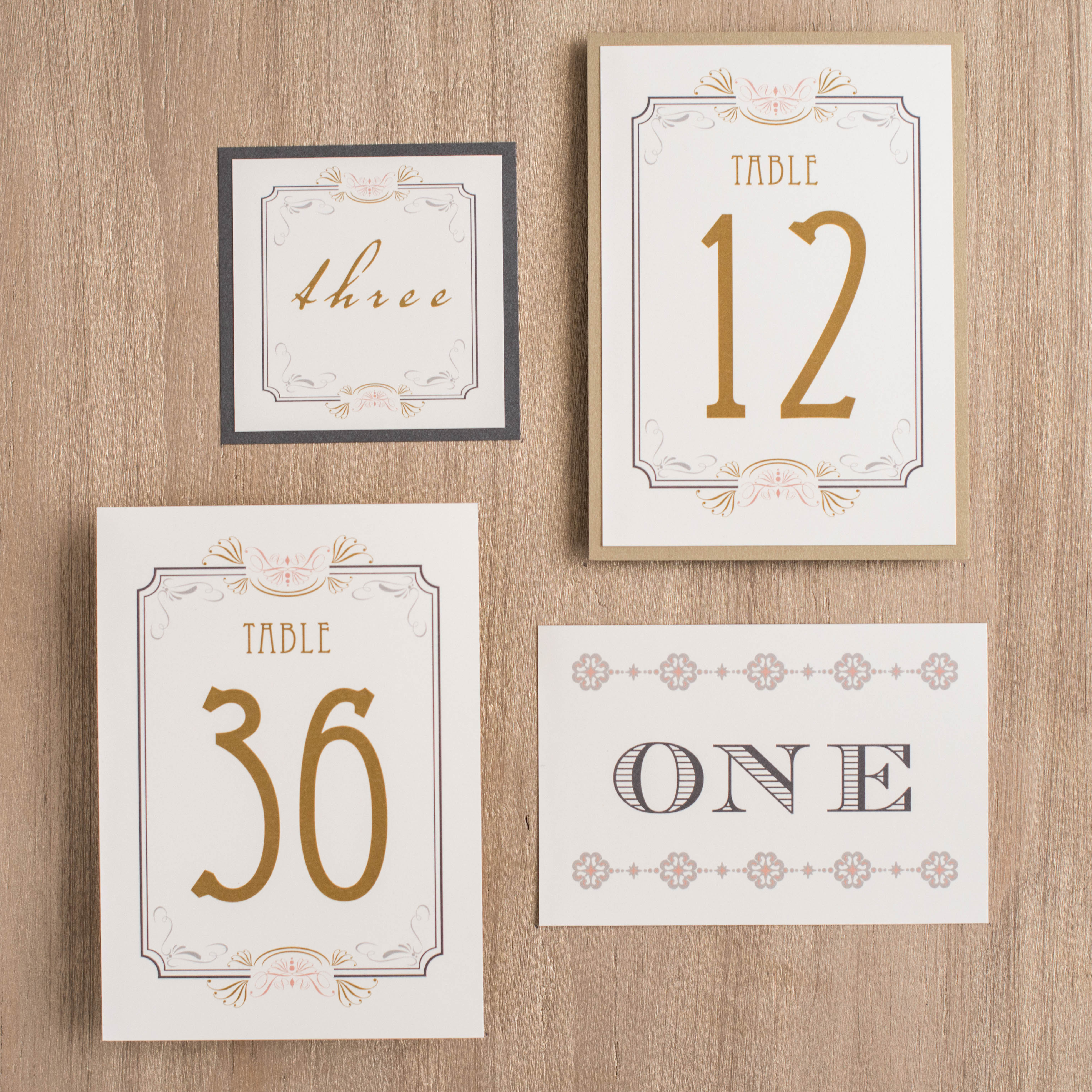 Art Deco Love Flat Table Numbers