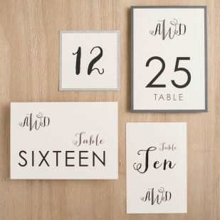 Silver & Glitter Flat Table Numbers