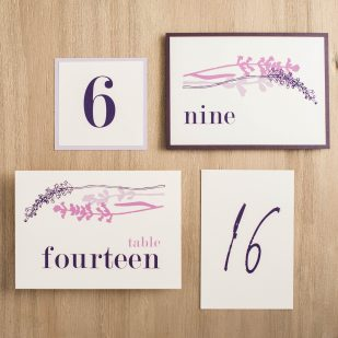 Lavender in Love Flat Table Numbers