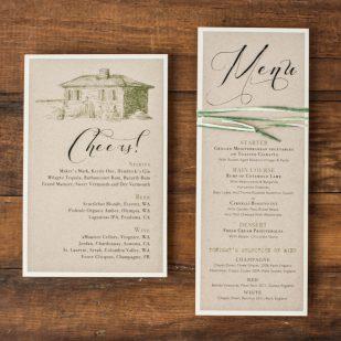 Rustic Chic Winery Flat Menu Cards