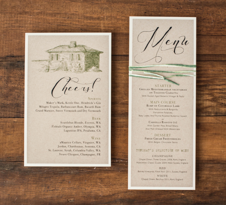 Rustic Chic Winery Customizable Flat Brown & Green Wedding Menus ...