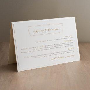 Elegant Ivory Tented Menu Cards