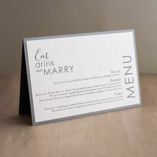Silver & Glitter Tented Menu Cards