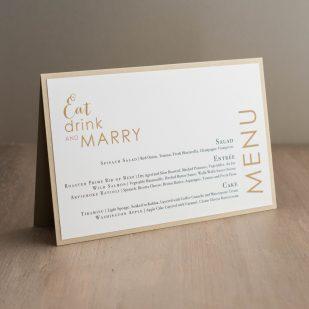 Gold & Glitter Tented Menu Cards