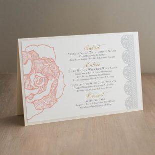 Ruffled Romance Tented Menu Cards