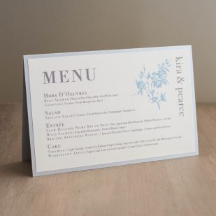 Elegant Blue Tented Menu Cards