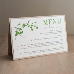 Modern Garden Tented Menu Cards