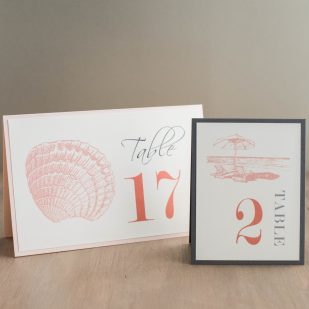 Beach Romance Tented Table Numbers
