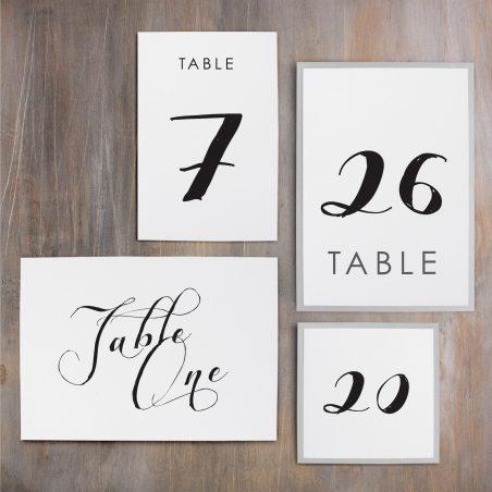 Black Script Flat Table Numbers