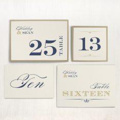 Elegant Navy Script Flat Table Numbers