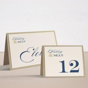 Elegant Navy Script Tented Table Numbers
