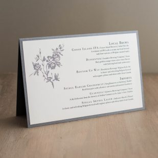 All White Tented Menu Cards