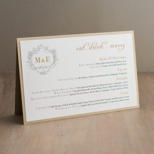 Antique Glitter Tented Menu Cards