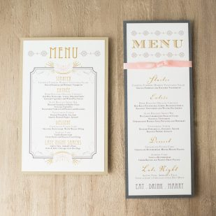 Art Deco Love Flat Menu Cards
