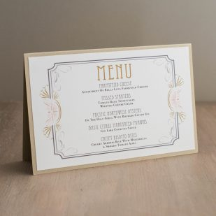 Art Deco Love Tented Menu Cards
