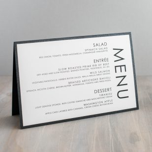 Black Script Tented Menu Cards