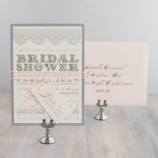 Lace Blush Peach Bridal Shower Invitations