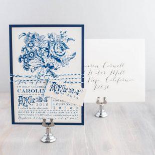 Floral Cobalt Blue Bridal Shower Invitations