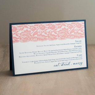 Deco & Lace Tented Menu Cards